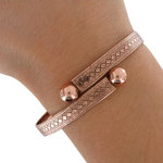 Wesley Wrap Bangle Bracelet Antiqued Rose Gold Tone Made USA One Size Fits All Thumbnail 3
