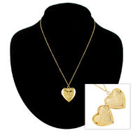 Necklace Gold Tone Heart Locket Pendant Small I Love You Made In USA