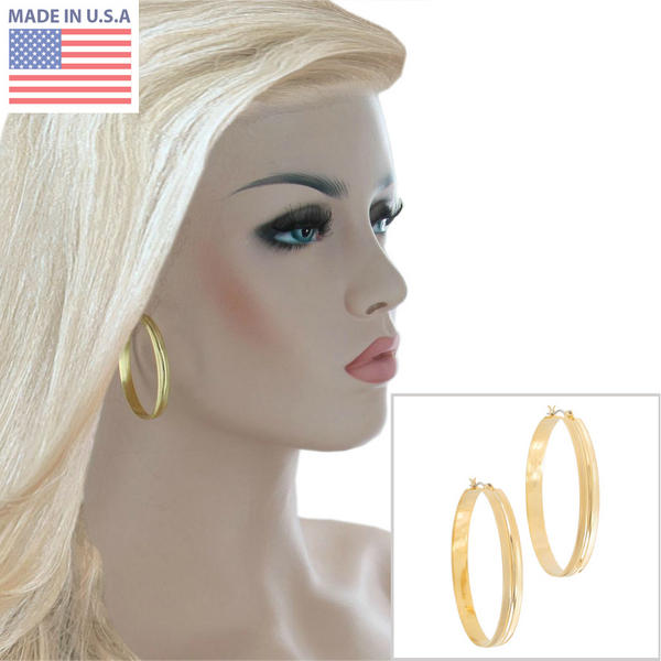 Ky & Co Yellow Gold Tone Hoop Beveled Pierced Earrings Made USA 1 3/4""