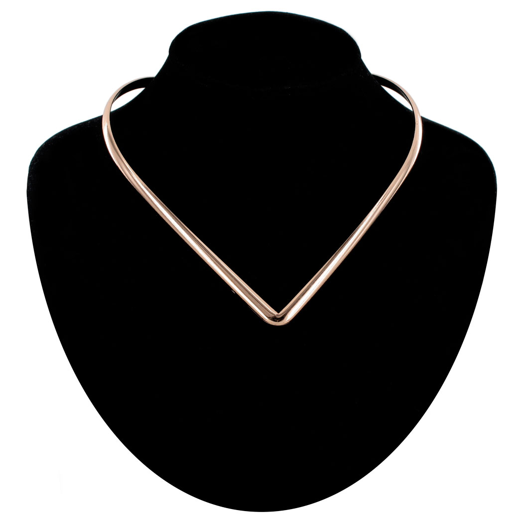 KY & Co USA Made Necklace Choker Collar Statment Rose Gold Tone V Neck