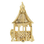 Danecraft Brooch Pin Dual Finish Gazebo Gold Tone Matte Glossy Thumbnail 2