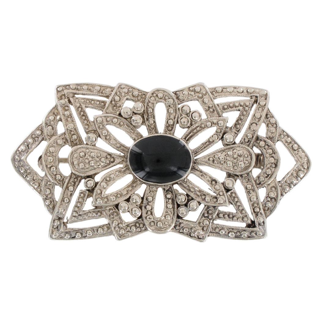 Art deco revival silver tone black rectangular pin brooch for Art deco costume jewelry