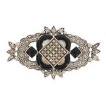 Art Deco Revival Silver Tone Black Framed Sheild Pin Brooch