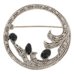 Art Deco Revival Silver Tone Black Round Floral Wreath Pin Brooch