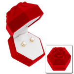 Round 2 Carat Tw Cz Cubic Zirconia Gold Tone Stud Earrings Red Rose Gift Box Thumbnail 1