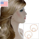 "Ky & Co Large Rose Gold Tone Wire Twist Clip On Hoop Earrings Made In USA 2"" Thumbnail 1"
