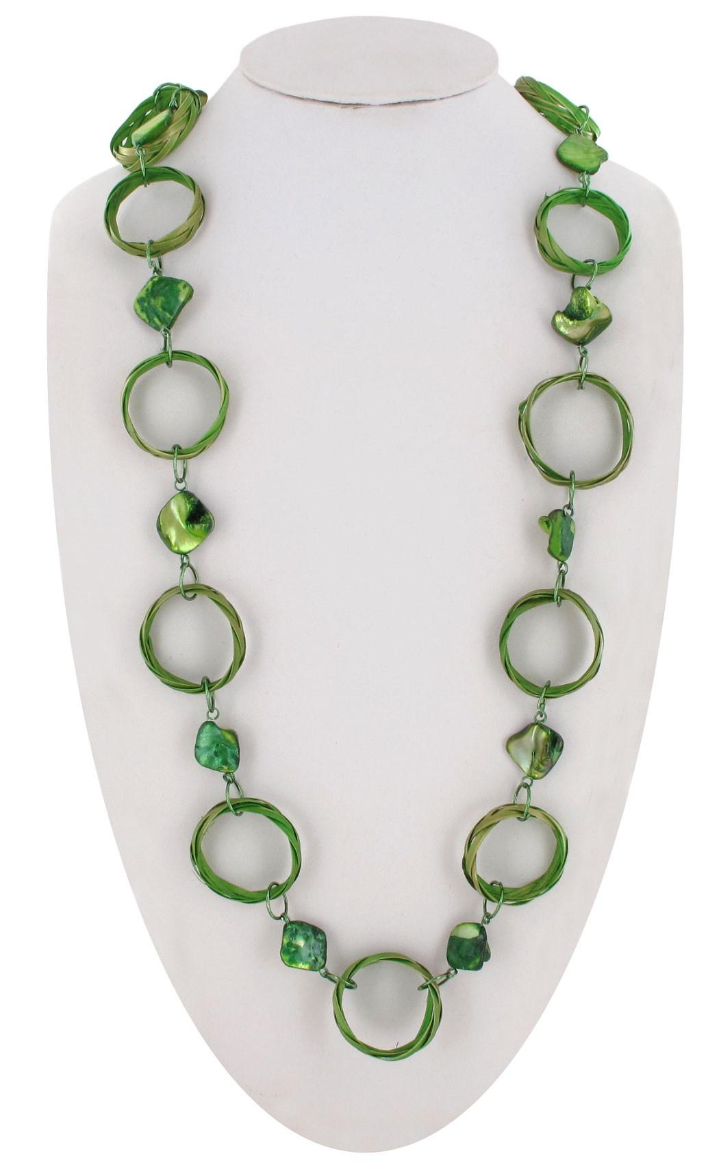 "Coldwater Creek Statement Necklace Long Raffia Wicker Ring Link 36"" Lime Green Thumbnail 1"