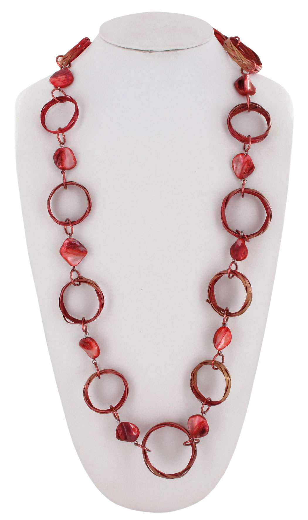 "Coldwater Creek Statement Necklace Long Raffia Wicker Ring Link 38"" Red Thumbnail 1"