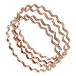 Ky & Co Bangle Bracelet Set 4 Rose Gold Tone Thin USA Zig Zag Regular Size