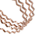 Ky & Co Bangle Bracelet Set 4 Rose Gold Tone Thin USA Zig Zag Regular Size Thumbnail 2