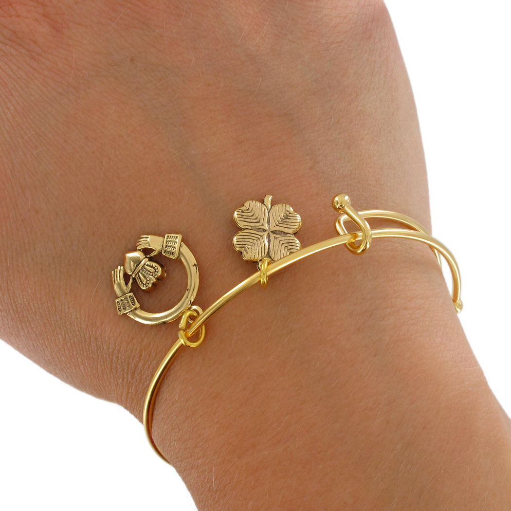 Irish Claddagh Bracelet Gold Usa Made 3687 26 Brc