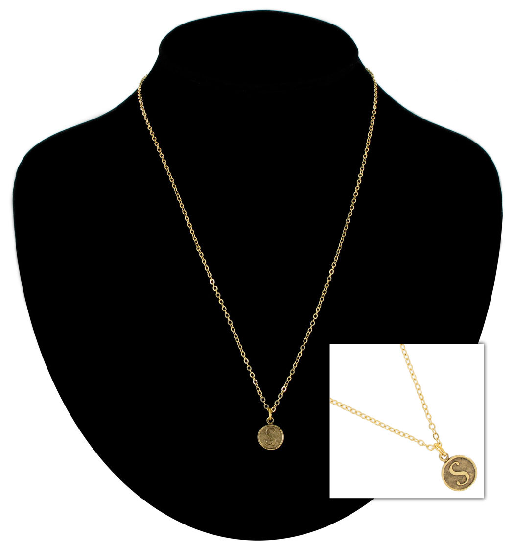 Ky co gold tone chain cursive initial letter s pendant for Letter s necklace gold
