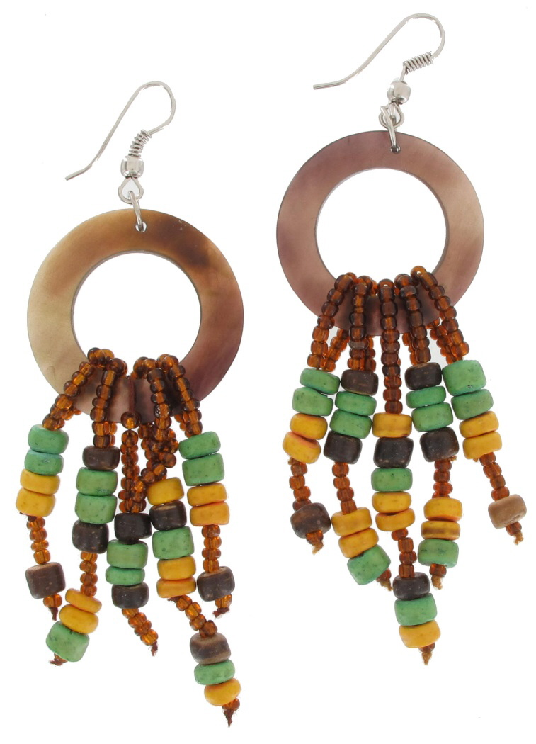 """Private Label Chandelier Pierced Wood Bead Earrings Brown Yellow Green Tribal Horn 3 1/4"""" at Sears.com"""