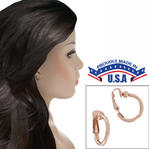 "Ky & Co Rose Gold Tone Small Clip On Hoop Earrings 1/2"" USA Made"