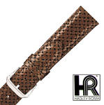 Hadley Roma MS843 22mm Woven Braided Brown Stitched Genuine Leather Watch Strap
