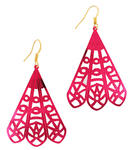 Ky & Co Pierced Earrings Fuschia Pink Jewel Tone Mettalic Filigree Statement Fan