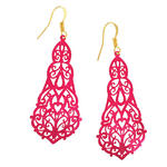 Ky & Co Pierced Earrings Metalic Fuschia Pink Jewel Tone Filigree Statement Pear