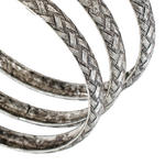 Ky & Co Set Of 3 Bracelets Antiqued Silver Tone Basket Weave Design Thumbnail 2