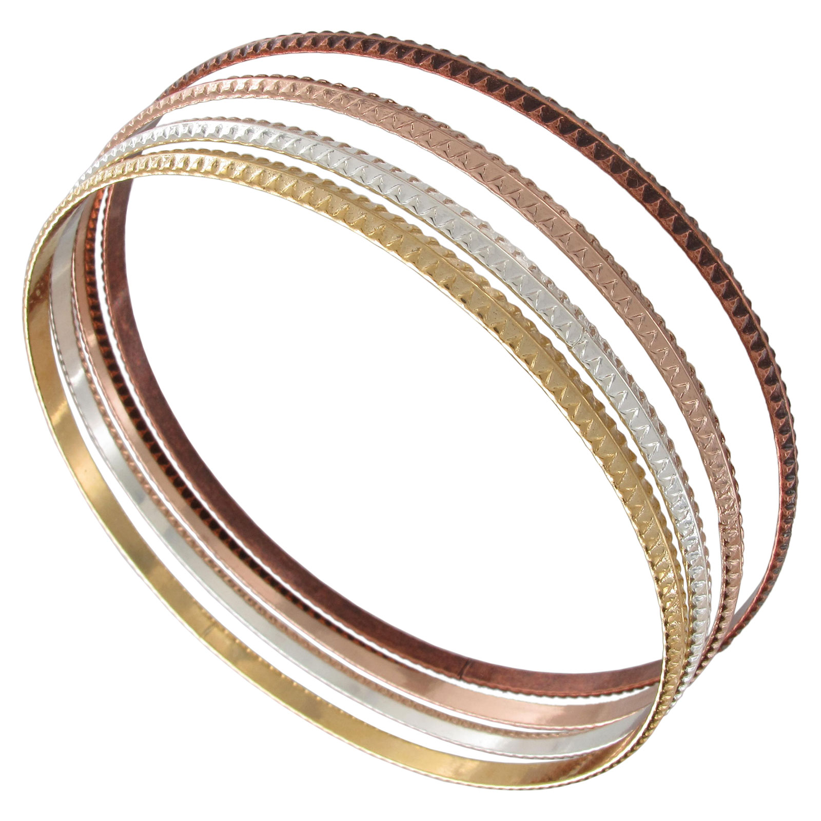 Ky & Co  Set 4 XL Bangle Bracelet Sussex Mixed Metal Multi Tone Thin USA