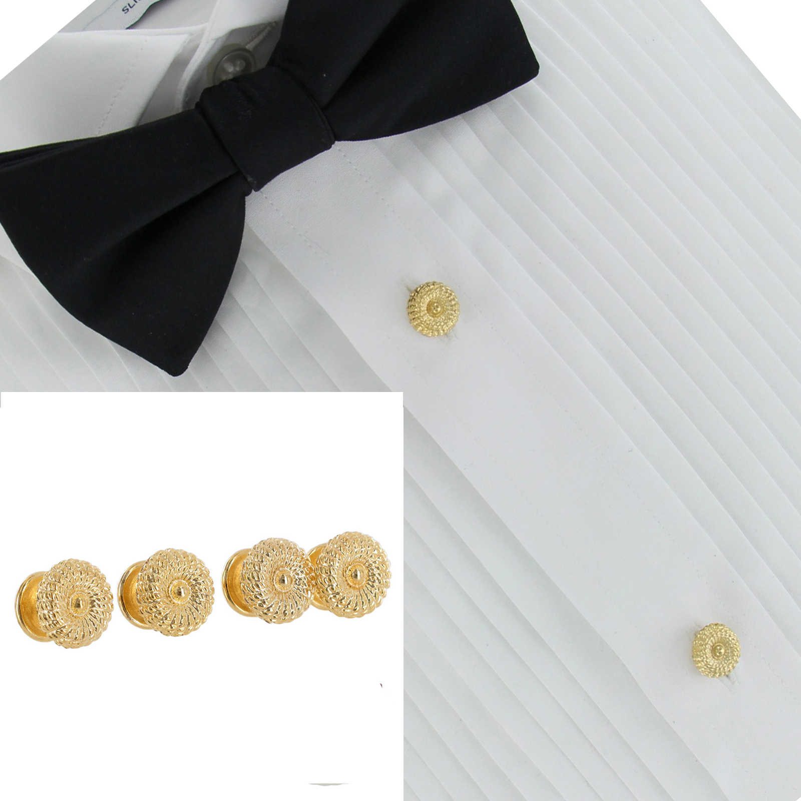 Usa made collar buttons gold 3712 2 tie clips chains for Stud sets tuxedo shirts