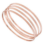 Ky & Co Bangle Bracelet Rose Gold Tone Thin Xl Large Made In USA Set 4 Cambridge