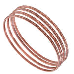 Ky & Co Bangle Bracelet Copper Ox Tone Thin Xl Large Made USA Set 4 Cambridge