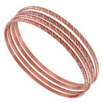 Ky & Co Copper Ox Tone Thin Copper Bangle Bracelet Swirl Texture Set of 4 XL