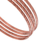 Ky & Co Copper Ox Tone Thin Copper Bangle Bracelet Swirl Texture Set of 4 XL Thumbnail 2
