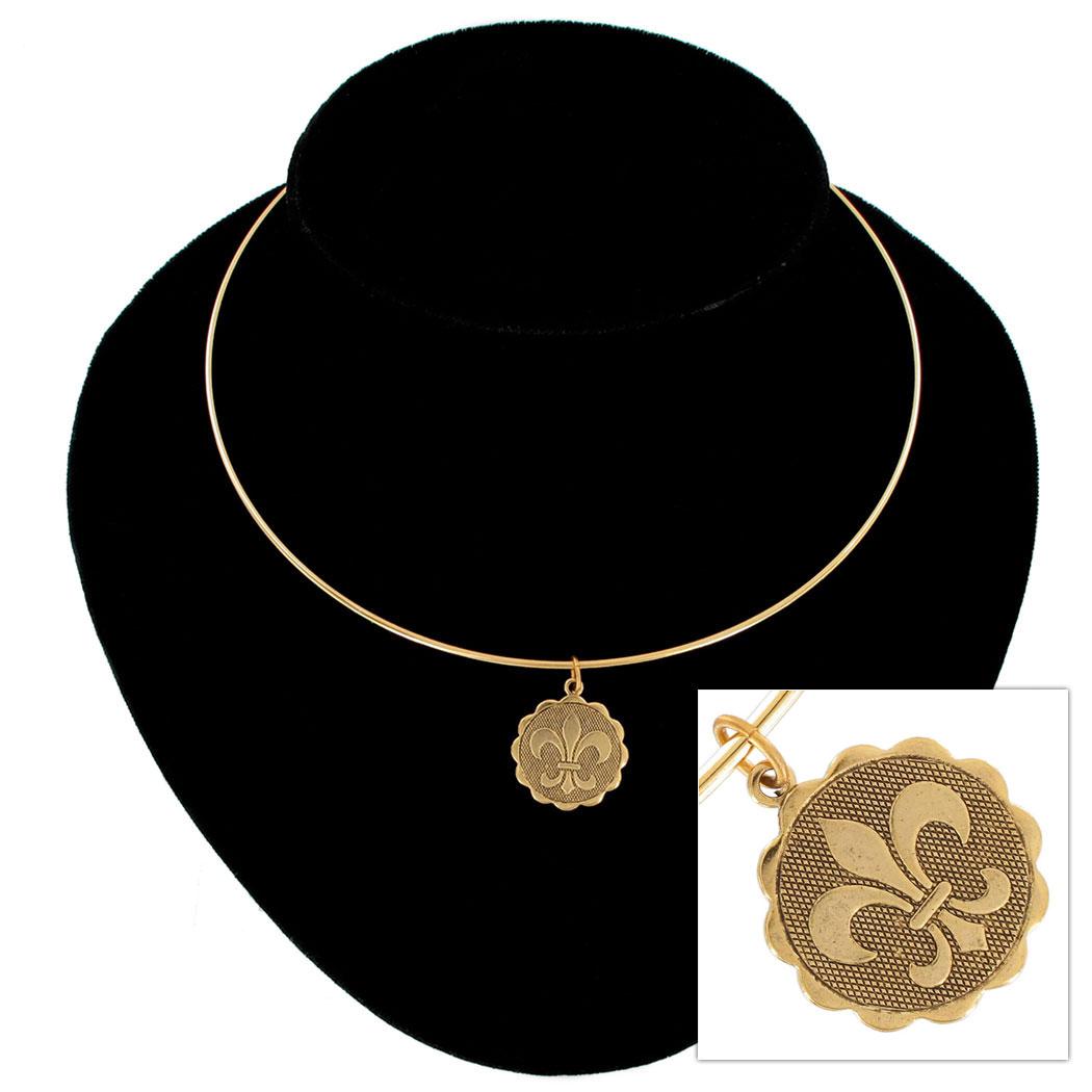 """KY & Co USA Made Pendant Bangle Collar Necklace Fleur De Lis Gold Tone 15"""""""