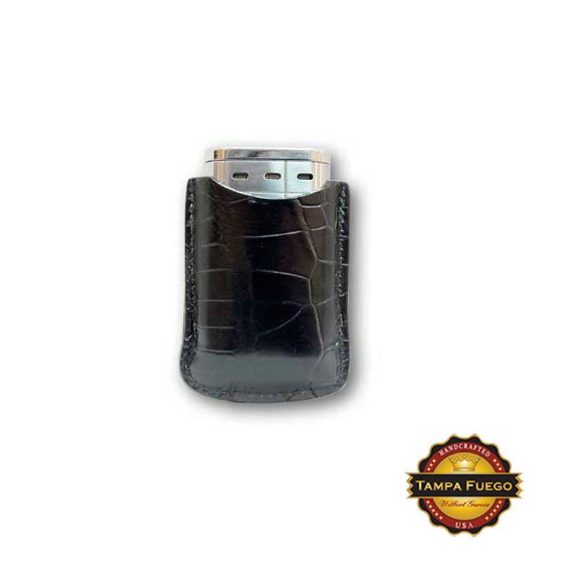 Tampa Fuego Black Cigar Lighter Case Genuine Alligator Fits Xikar - SPO Thumbnail 1