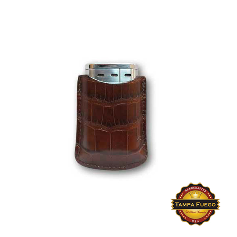 Tampa Fuego Brown Cigar Lighter Case Genuine Alligator Fits Xikar- SPO Thumbnail 1