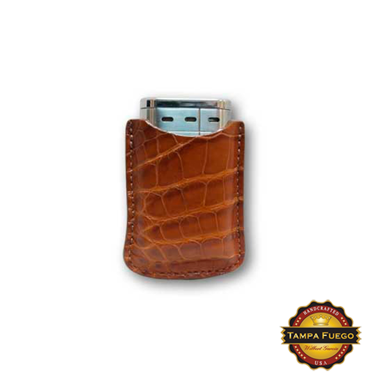Tampa Fuego Cognac Cigar Lighter Case Genuine Alligator Fits Xikar- SPO Thumbnail 1