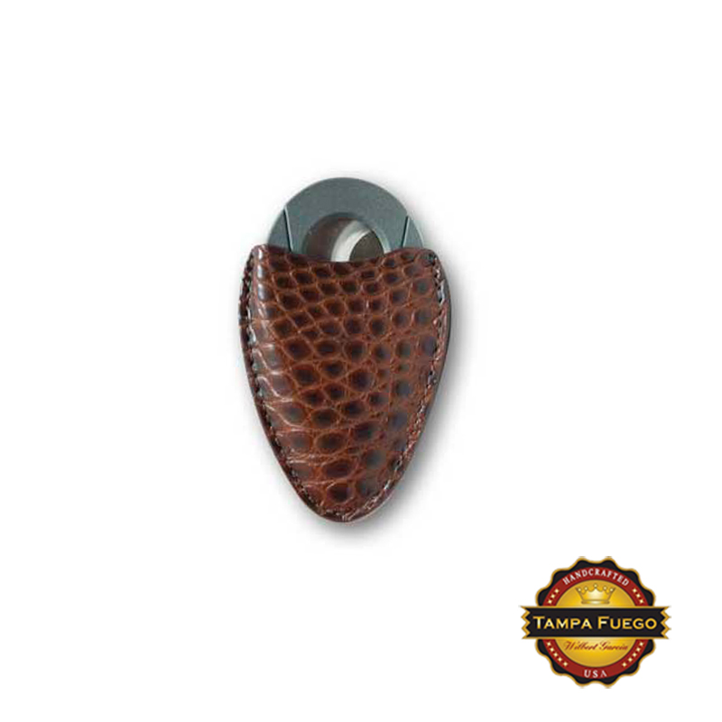 Tampa Fuego Cigar Cutter Case Genuine Alligator Brown Fits Xikar- SPO