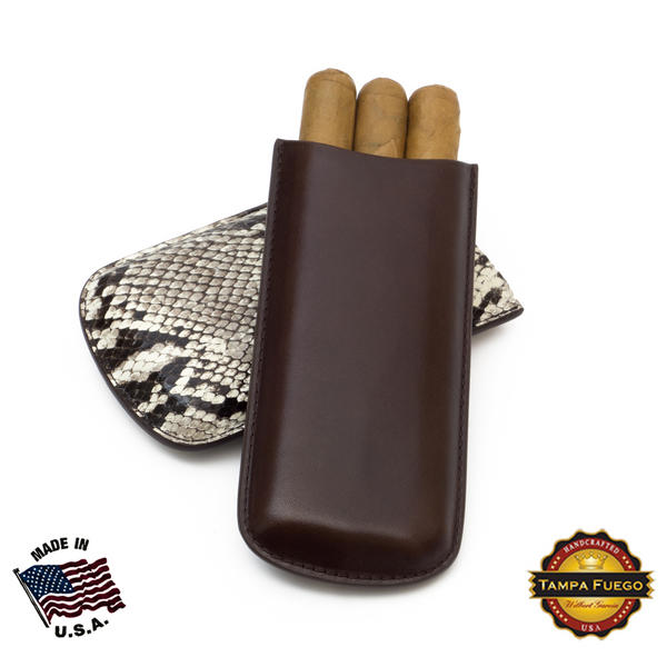 Tampa Fuego Natural Cigar Case Exotic Python 2 Sides Leather - On Hand