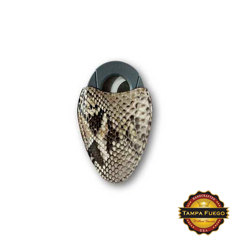 Tampa Fuego Natural Cigar Cutter Case Genuine Python Fits Xikar