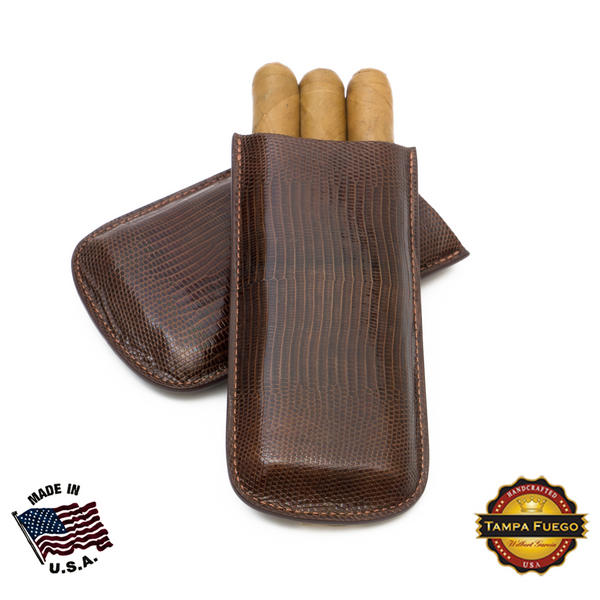 Tampa Fuego Cigar Case Genuine Lizard Brown Full All Sides - SPO