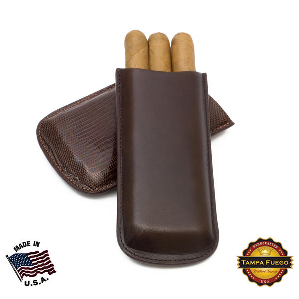 Tampa Fuego Brown Cigar Case Exotic Lizard 2 Sides Leather - Special Order