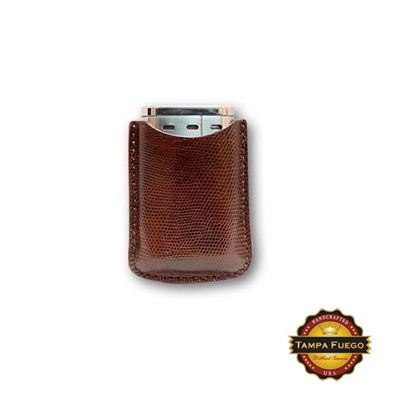 Tampa Fuego Lighter Case Genuine Lizard Brown Fits Xikar - SPO