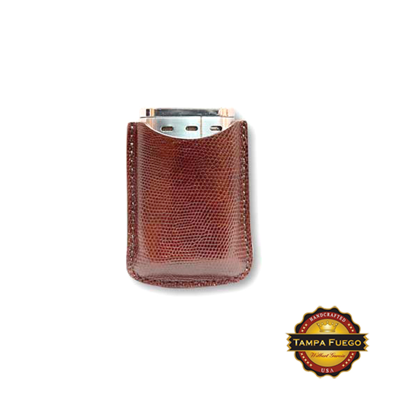 Tampa Fuego Lighter Case Genuine Lizard Cognac Fits Xikar