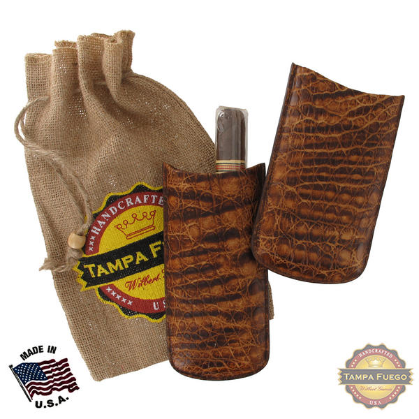 Tampa Fuego Brown Cigar Case Genuine Vintage Crocodile Father's Day