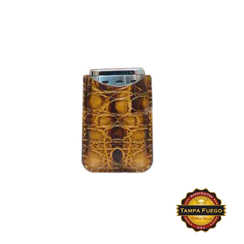 Tampa Fuego Brown Cigar Lighter Case Vintage Crocodile Fits Xikar Father's Day Thumbnail 1
