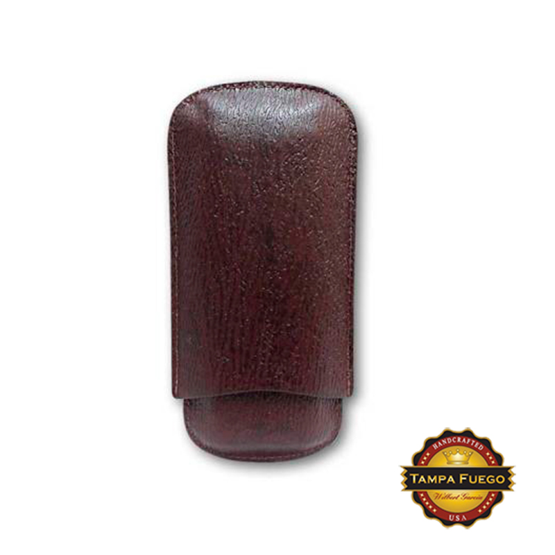Tampa Fuego Burgundy Cigar Case Exotic Shark 2 Sides Leather - SPO Thumbnail 1