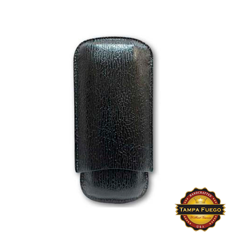 Tampa Fuego Black Cigar Case Exotic Shark 2 Sides Leather - SPO