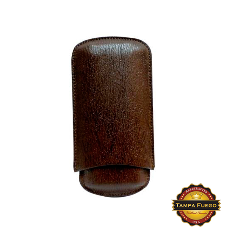 Tampa Fuego Brown Cigar Case Exotic Shark 2 Sides Leather- SPO Thumbnail 1