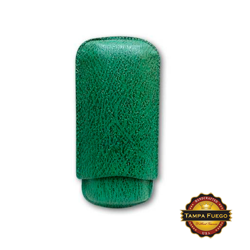 Tampa Fuego Green Cigar Case Exotic Shark 2 Sides Leather - Special Order Thumbnail 1