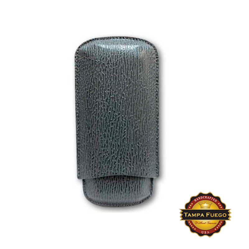 Tampa Fuego Grey Cigar Case Exotic Shark 2 Sides Leather - SPO Thumbnail 1
