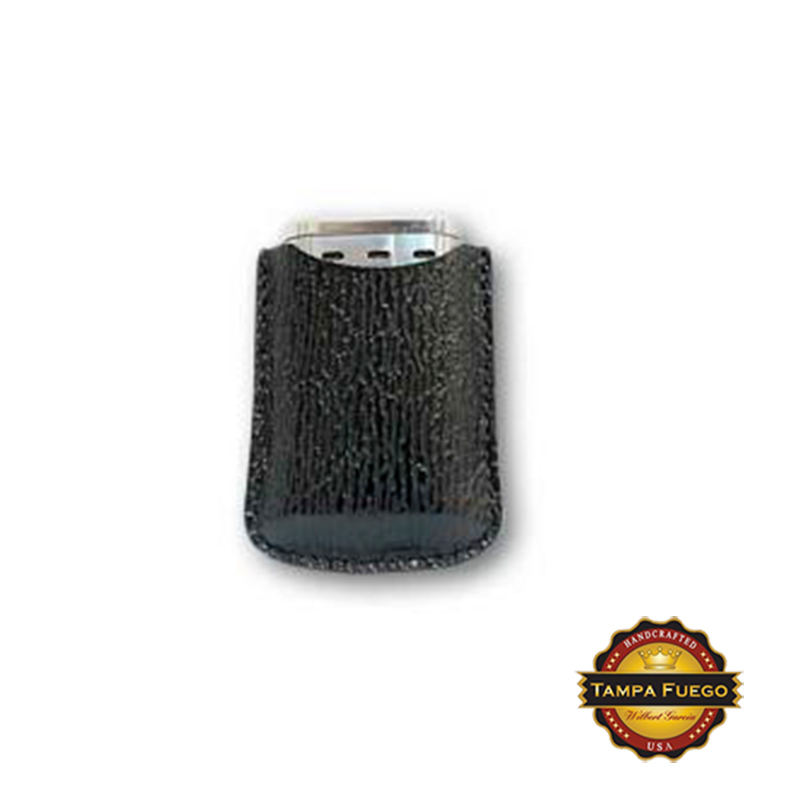 Tampa Fuego Black Cigar Lighter Case Genuine Shark Fits Xikar- SPO Thumbnail 1