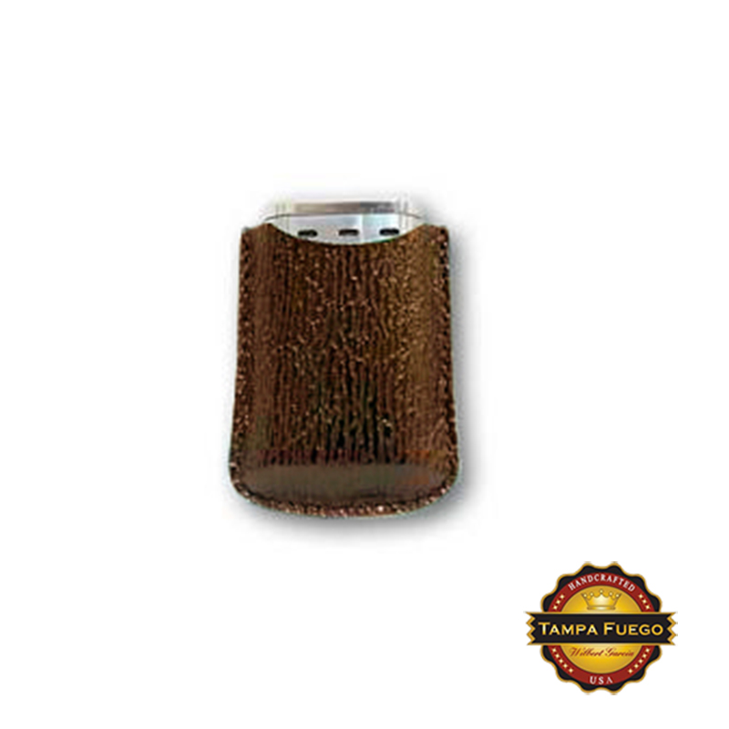 Tampa Fuego Brown Cigar Lighter Case Genuine Shark Fits Xikar- SPO Thumbnail 1