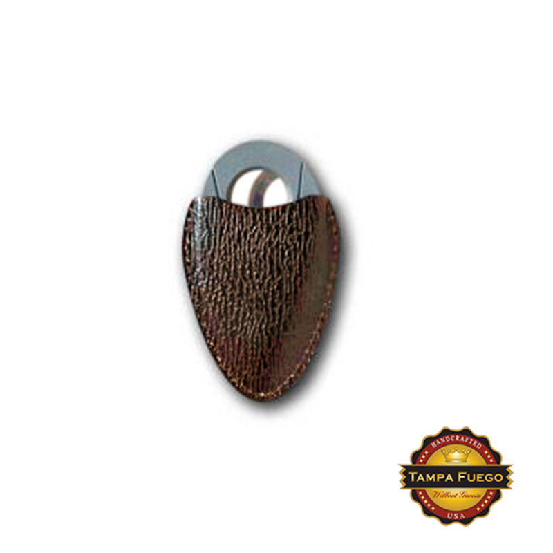 Tampa Fuego Cigar Cutter Case Genuine Shark Brown Fits Xikar- SPO