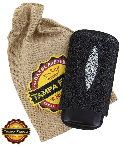 Tampa Fuego Black Cigar Case Exotic Stingray 1/4 Leather  Father's Day